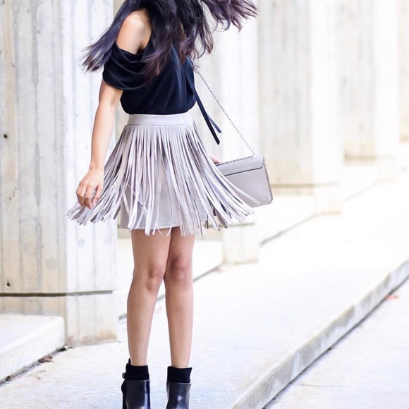 shoptiques Dresses & Skirts - Grey skirt with fringes